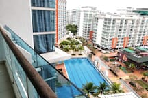 Balcony with pool view!