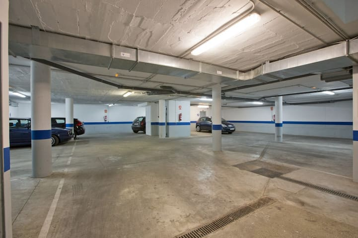 Parking space for a car at the bassament of the building connected by lift
