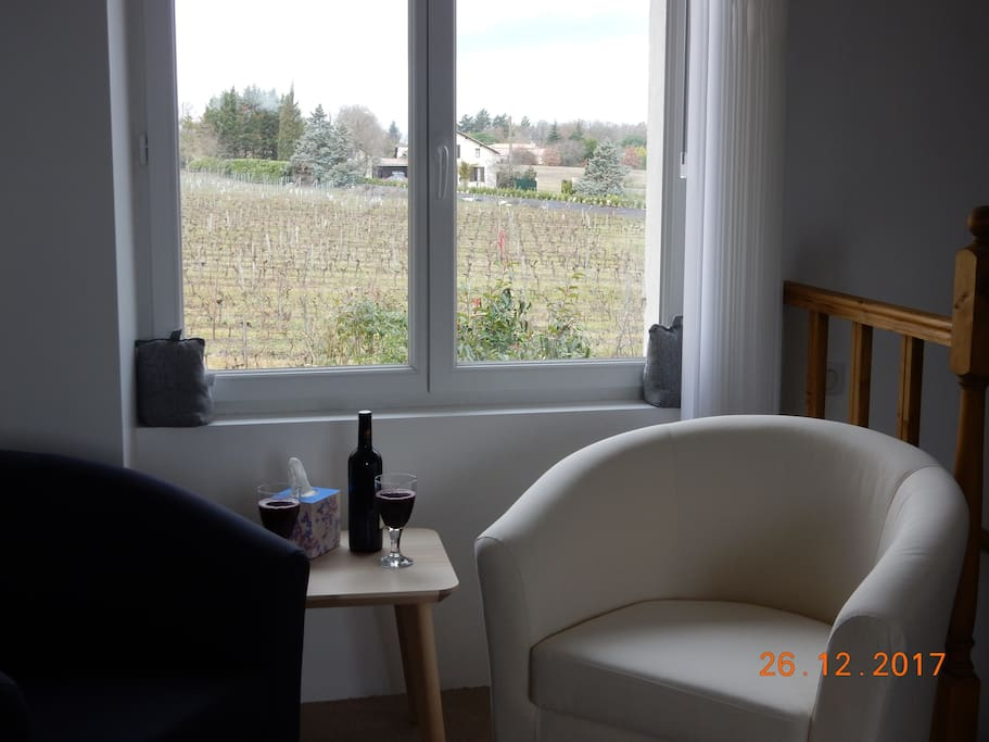 Beautiful views over vineyards from the bedroom
