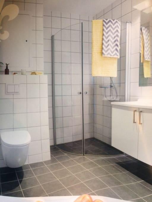 Bathroom with tumbel dryer and washing machine