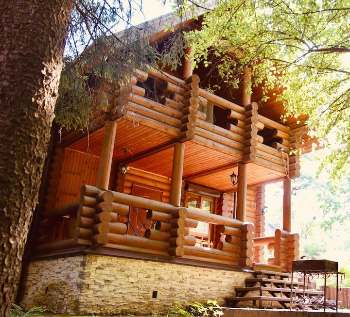 Дом с камином у лесного ручья