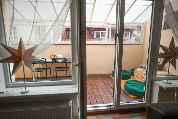 V 12 -Terrace + 3 rooms apartment Vilnius Old Town