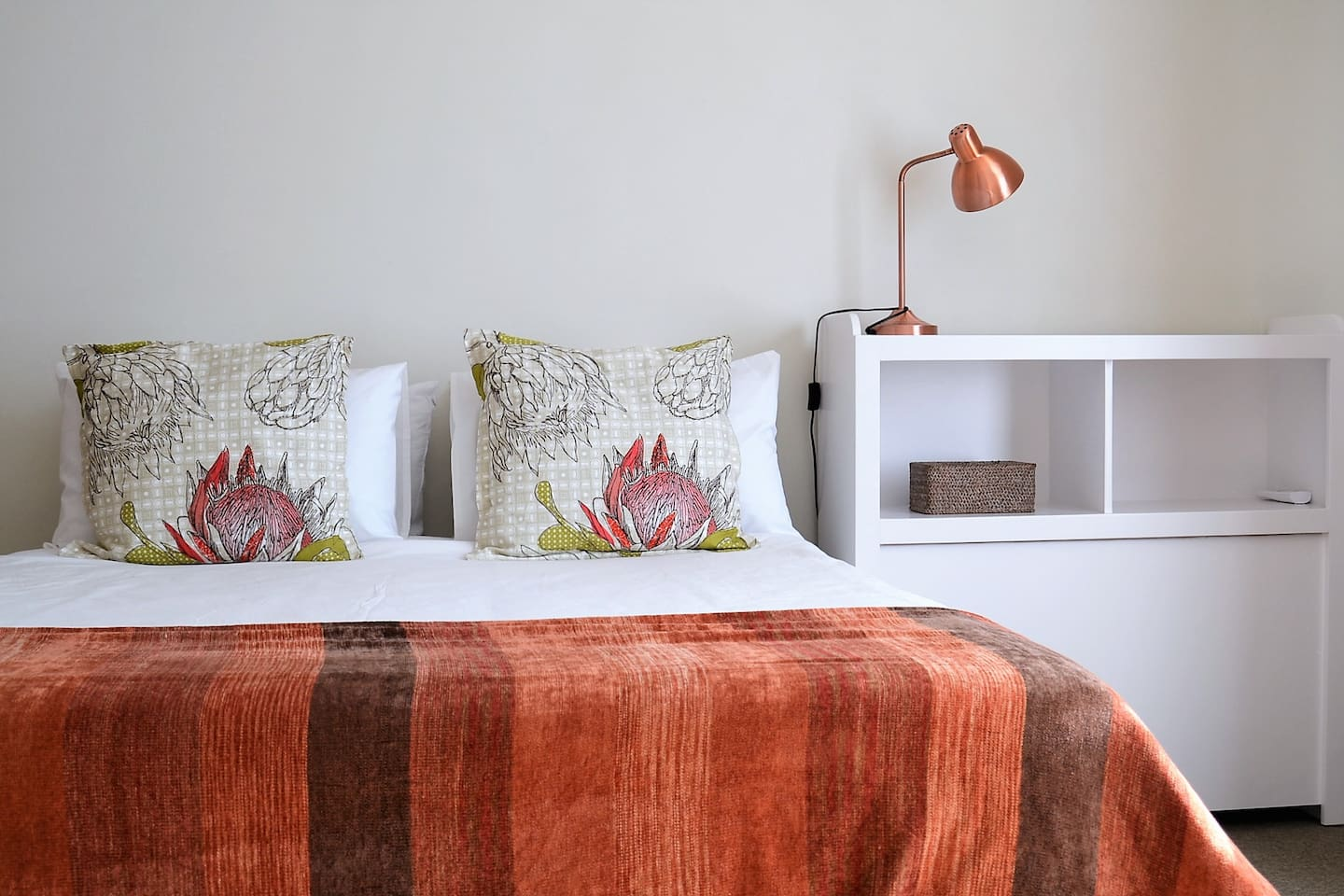 Time to relax on this bed. 100% cotton bedding for your comfort.