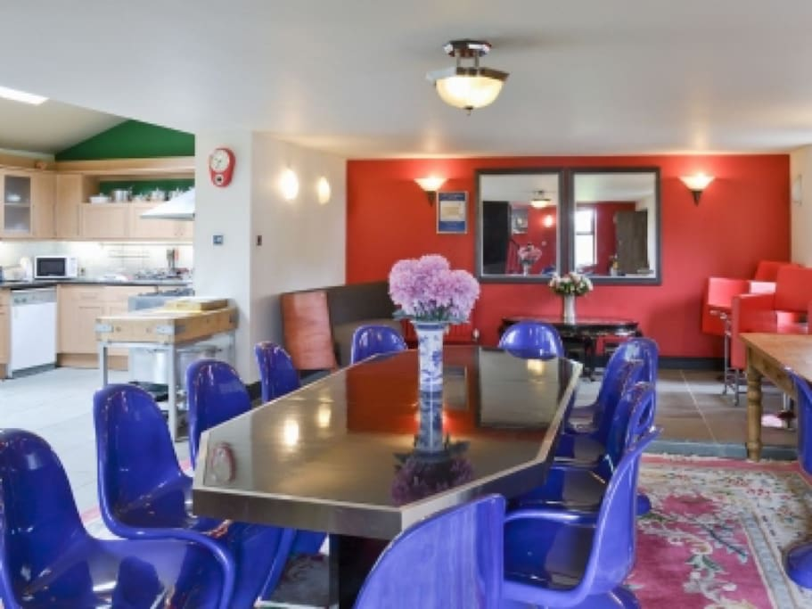 Open Dining /Living Space with alfresco patio space and Kitchen