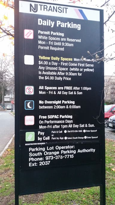 Free Parking @ the Station and Manhattan in 15 min (Approx.) by NJ transit.
