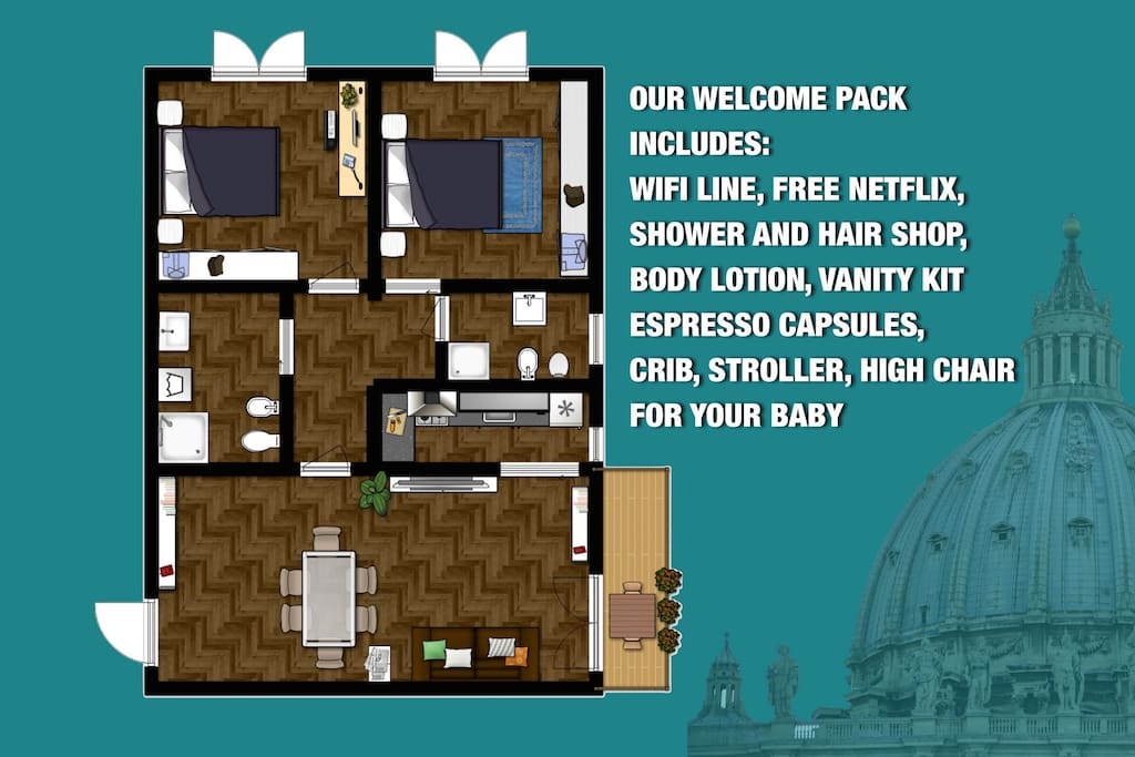 Apartment map and our welcome pack