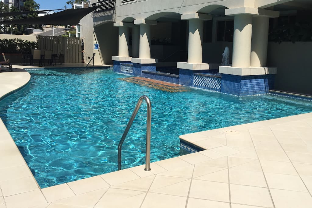 Fabulous pool and spa looking over the city! With 2 BBQ's for communal use. Book these in the pool area or use the one provided on the balcony of the unit!
