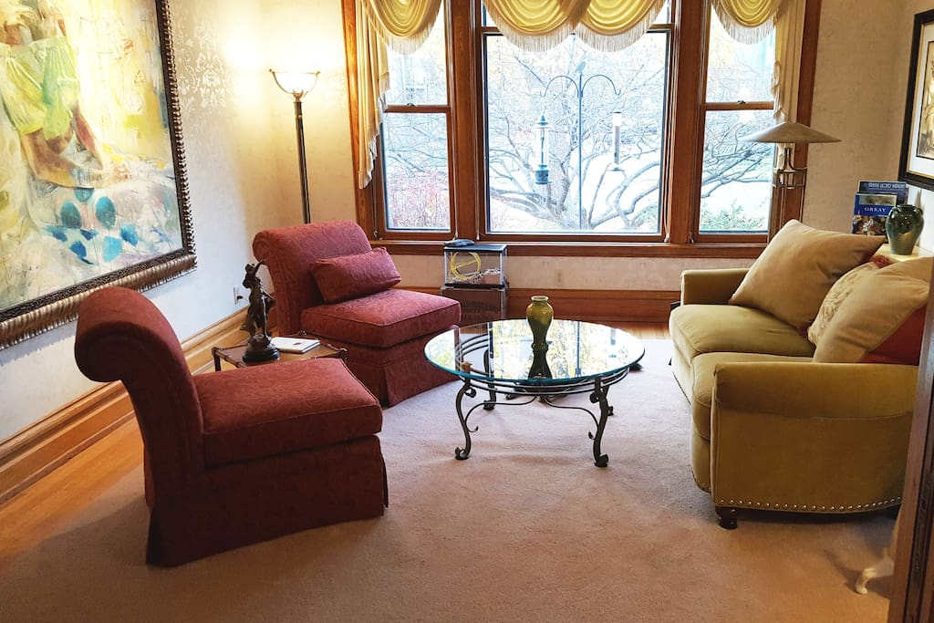 First floor living room is an ideal place to relax, read a book, enjoy a cup of coffee, or just watch birds on the feeder.