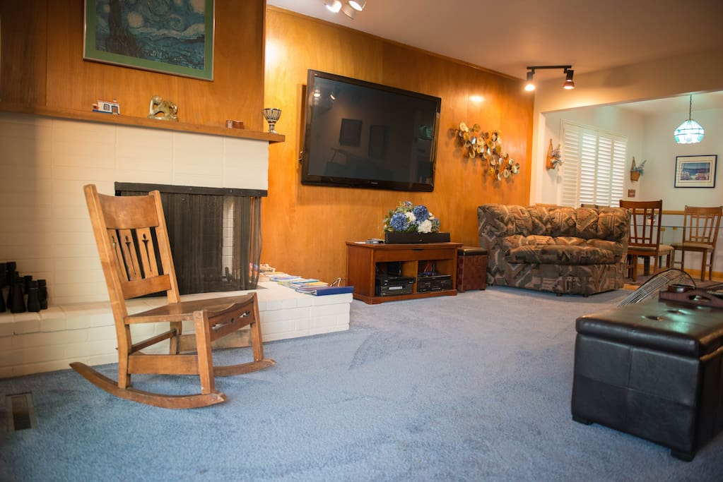 """Living Room with 72"""" flat screen"""