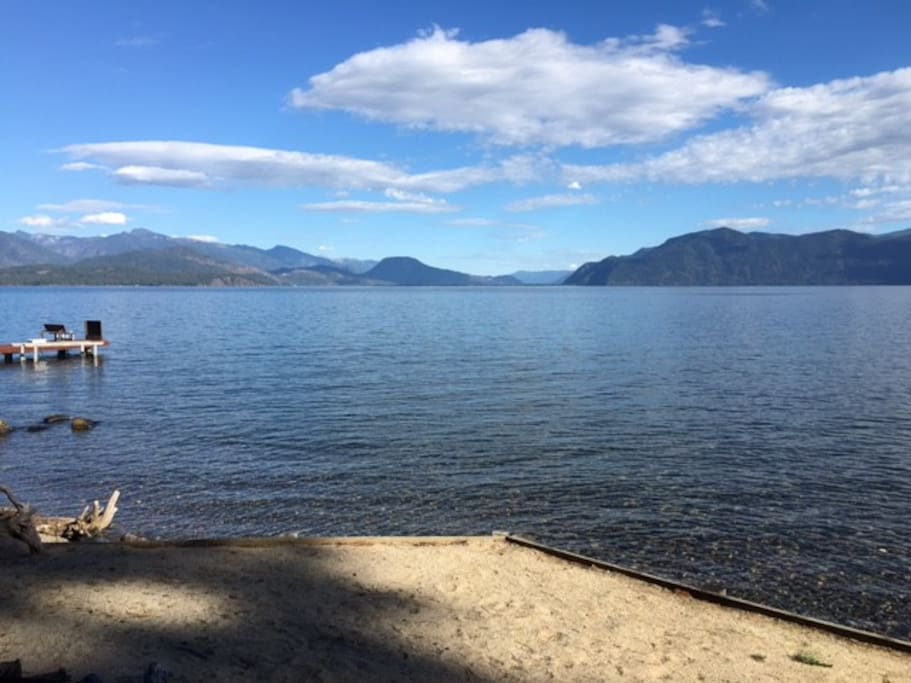 Another view of Lake Pend Oreille from our 200 feet of shore frontage, over 100 foot of sand beach.