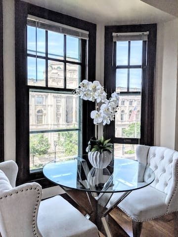 Morning coffee with a view  Milwaukee's Public Library was built in the late 1800's and we highly recommend popping in!