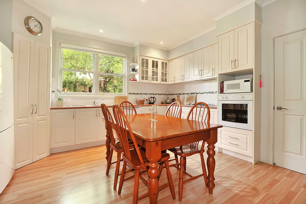 Our beautifully appointed country-style kitchen with coffee pod machine
