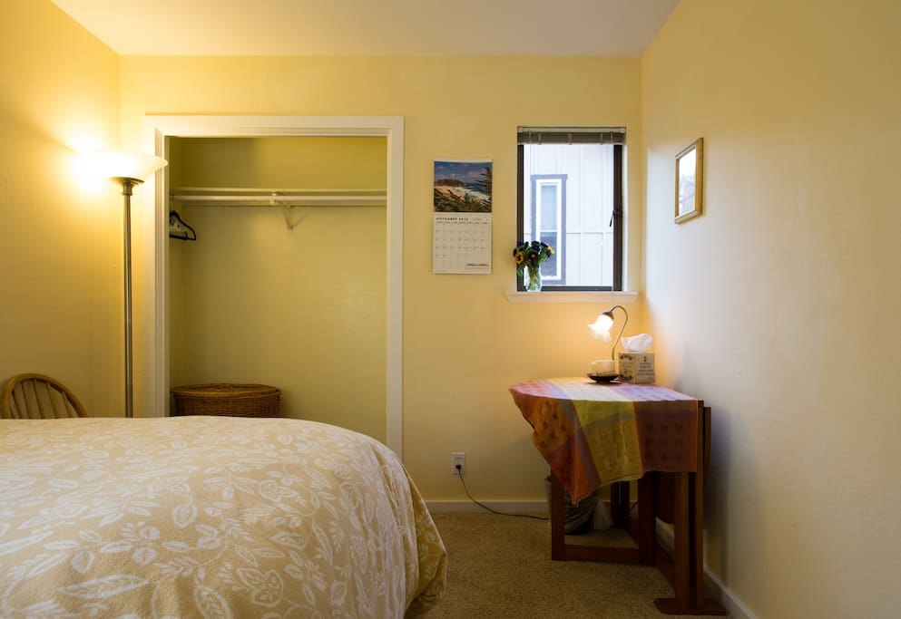 Your room from the door / hallway. This is a sunny bedroom, but pic is taken late afternoon.