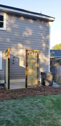 The outdoor shower (a door has been mounted, updated photo soon).