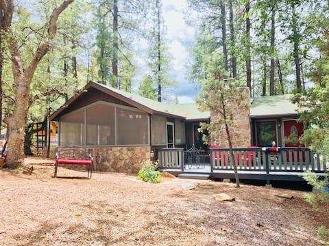 A big deck, sunroom, wifi and kid friendly cabin.