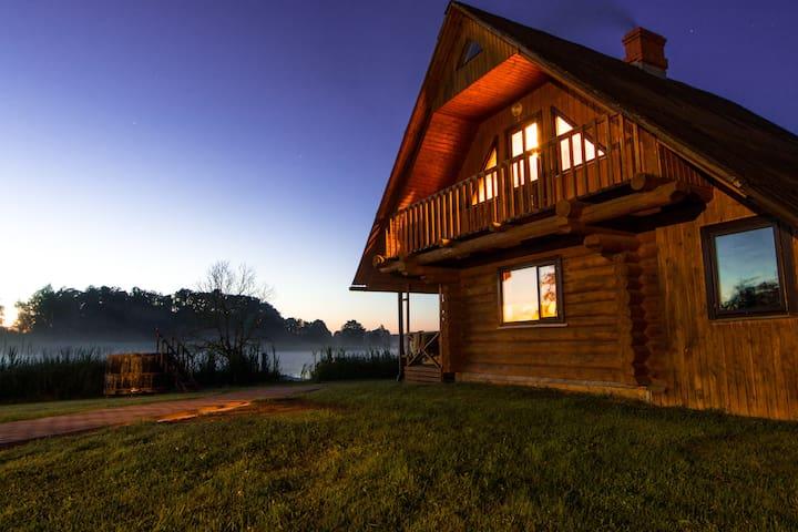 ★Log Cabin★ with Lake & Boat & Latvian Sauna☀