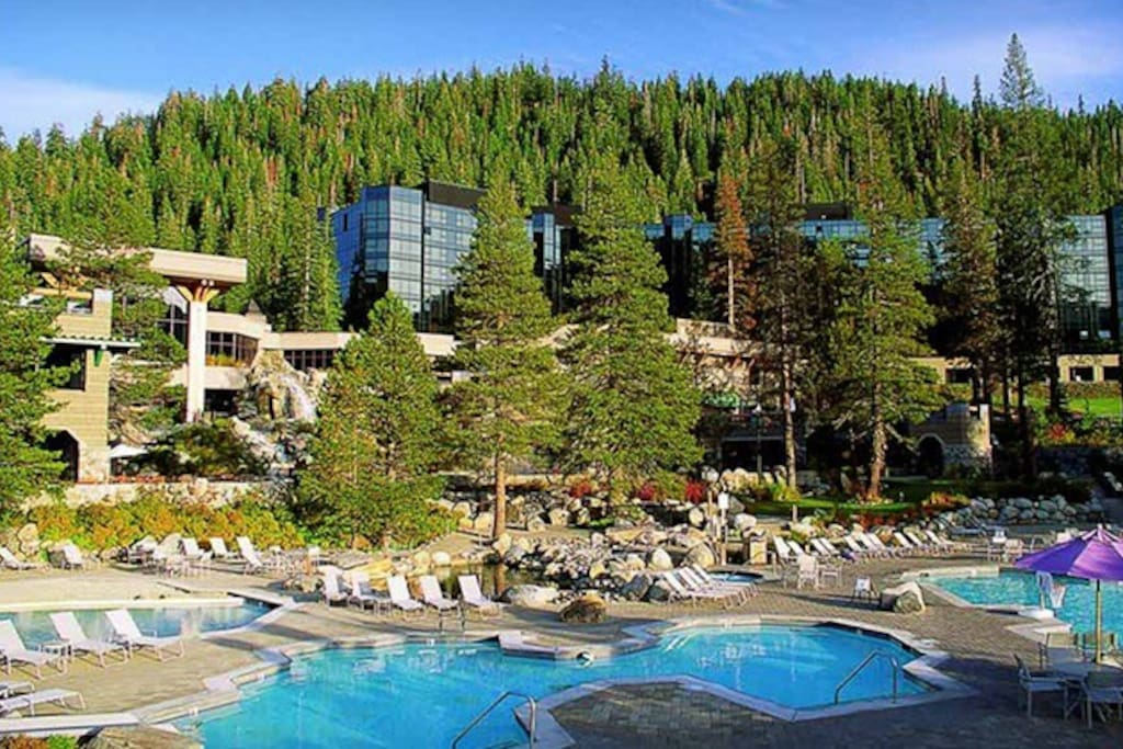 Enjoy the 2 large heated pools and 3 hot tubs at the Resort at Squaw Creek.