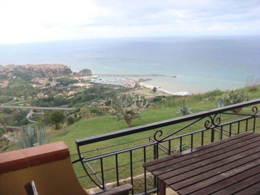 Enjoy views over Tropea and the Mediterranean sea from the apartment's terrace.