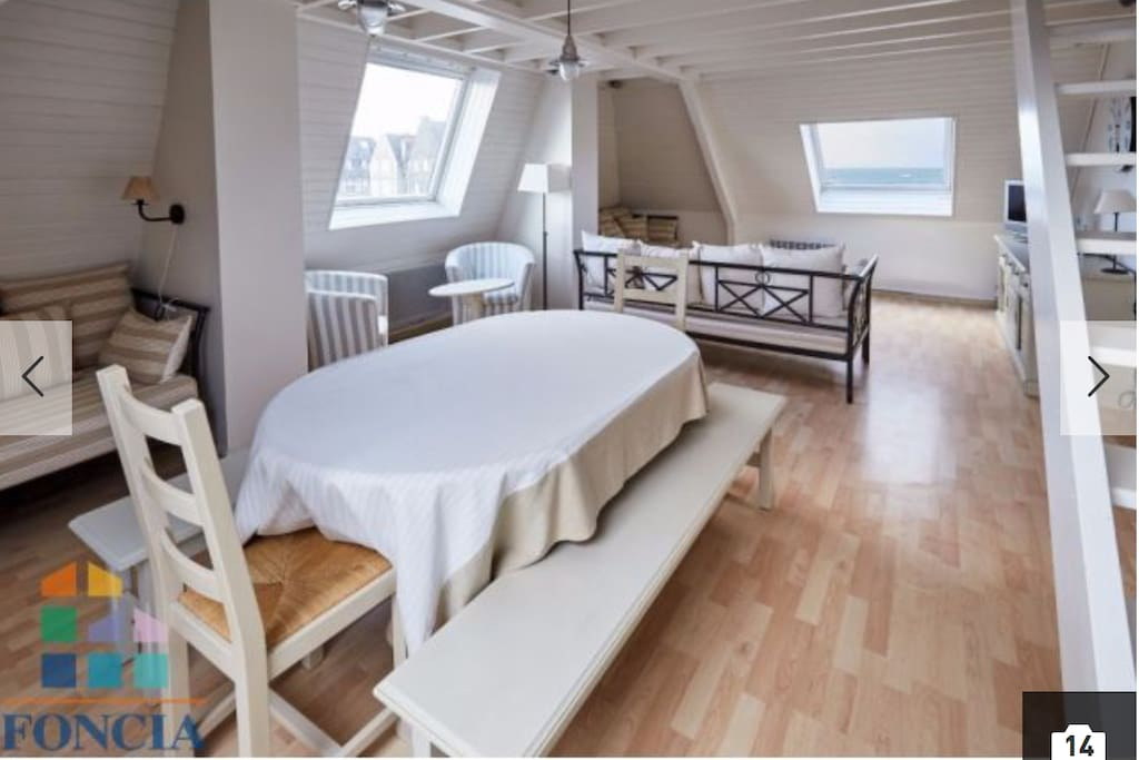 Pièce à vivre avec sa salle à manger et 3 canapés convertibles (triple exposition, vue mer)