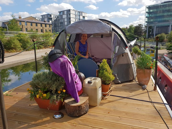 Tent on houseboat, Victoria Park Regents Canal