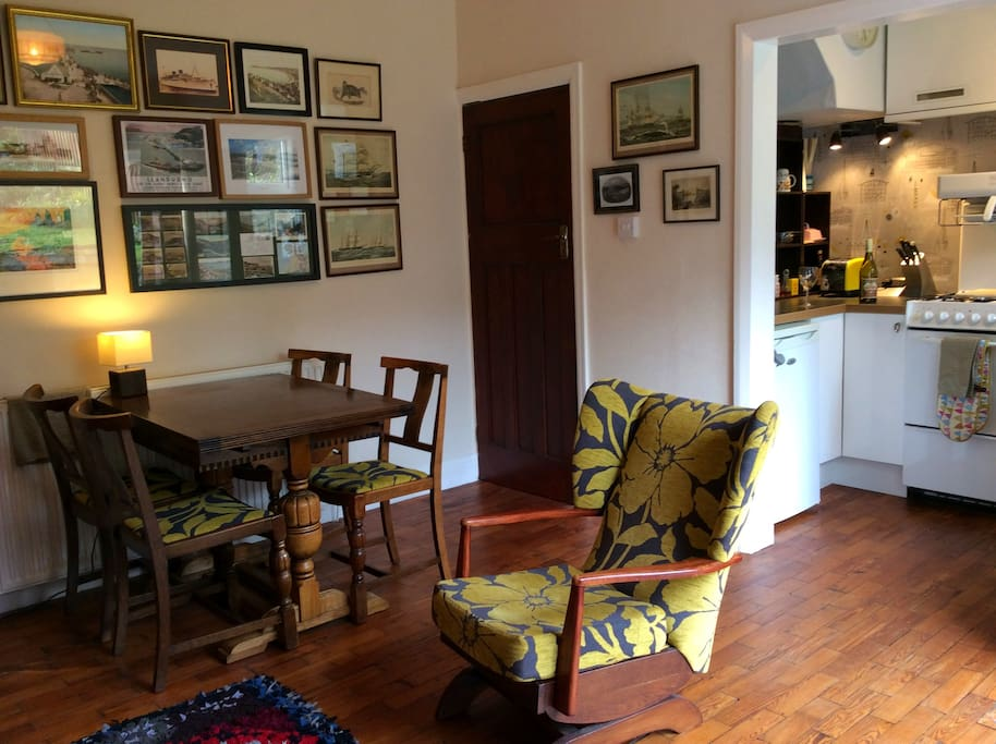 Dining/Sitting Room with beautiful pitch pine parquet flooring