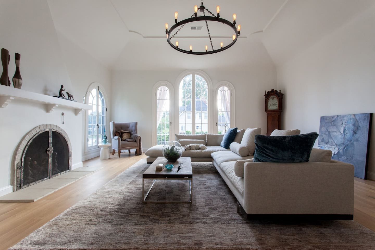 The amazing moorish living room of Casa Alameda with twelve foot ceilings and arched French doors to a balcony