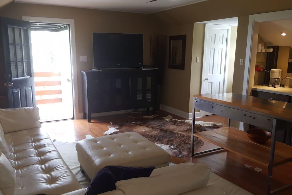 View of living room from bedroom door
