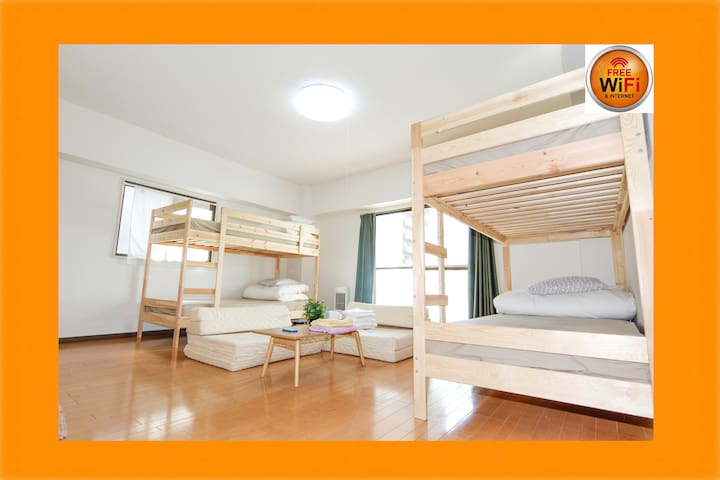 7mins Namba!WiFi&2Bunk Beds!6ppl* - 大阪市 - Huoneisto