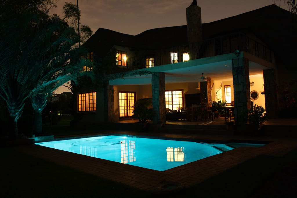 Pool and patio in the evening