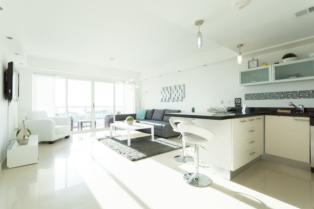 Comfortable living room with fully equipped open kitchen
