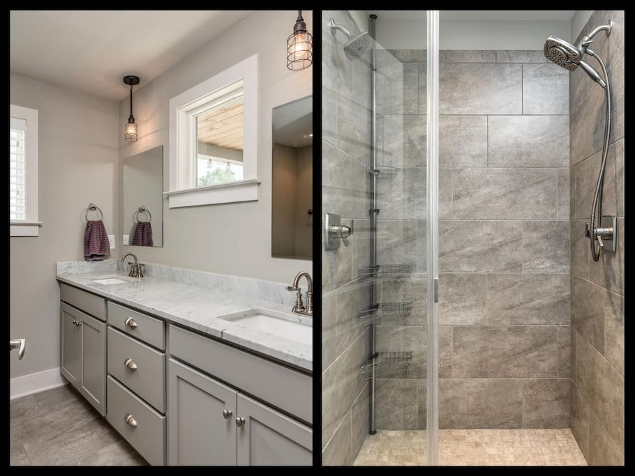 Master in-suite bathroom - walk-in double-headed shower, double sinks, multiple drawers and one cabinet to store your personal items