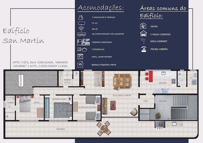 Lindo Apartamento, 3 quartos com vista de Frente pro Mar - Praia das Dunas