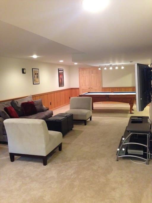 """Pool table and 50"""" flat screen television"""