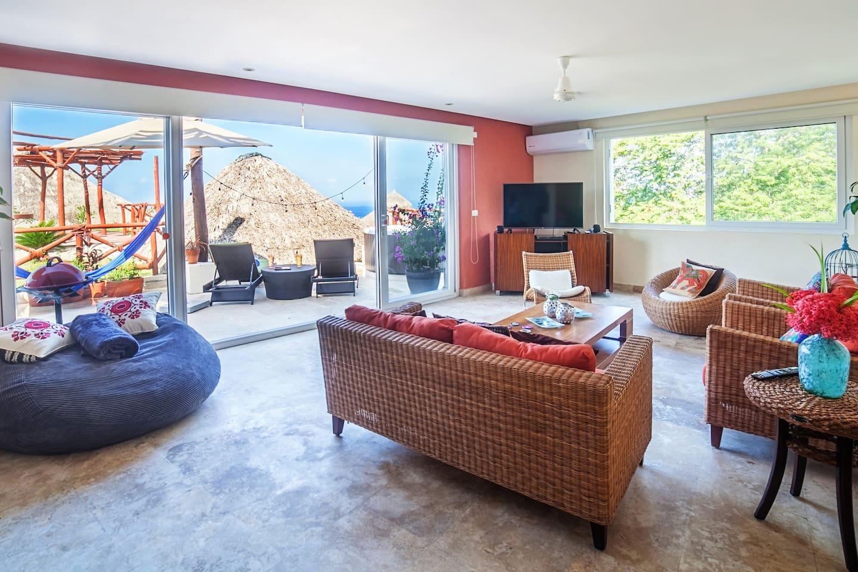 sunny, spacious living area
