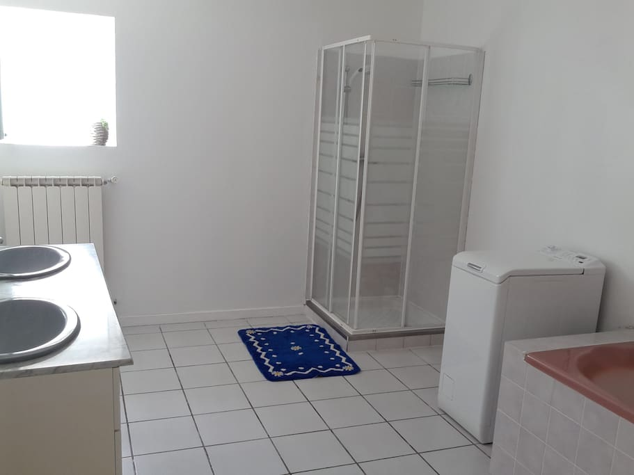 Salle de bain  . Une douche, une baignoire, lave linge .