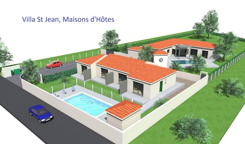 Villa St Jean, maison d'hotes  calme avec piscine - Saint-Jean-Lasseille - Apartamento