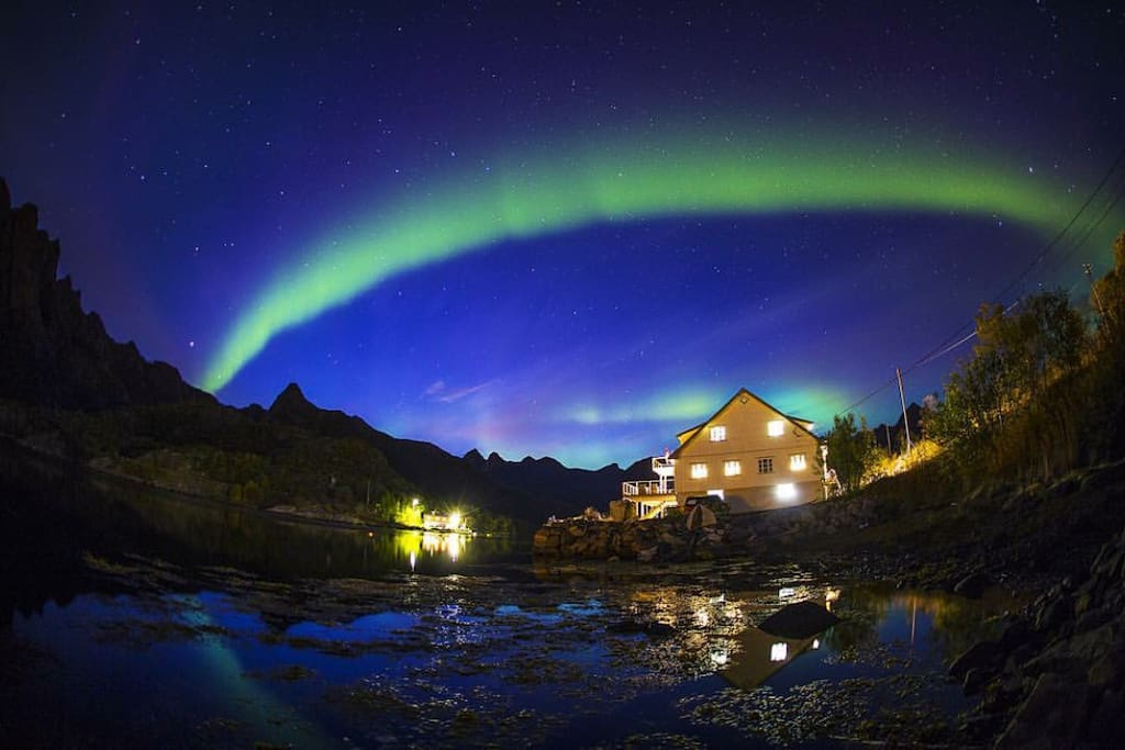Northern lights over the apartments