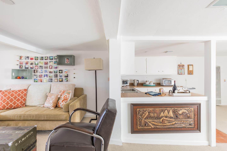 Mini-kitchen and full living room
