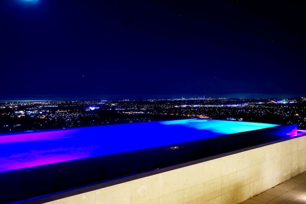 Architecturally designed Infiniti edge pool overlooking the Pacific Ocean and the entire Gold Coast city