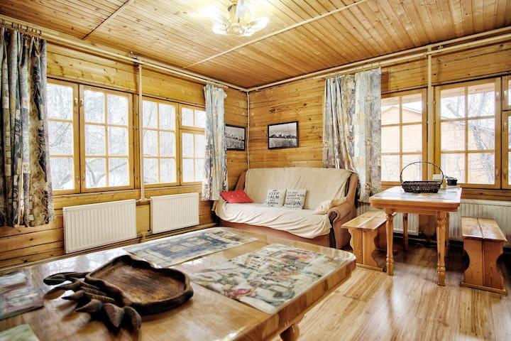 House made of pine beams