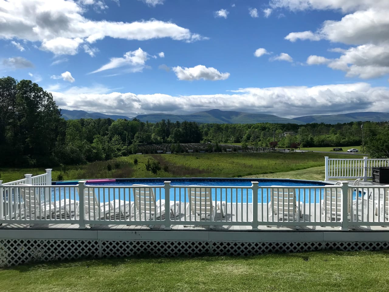 45 by 18 foot pool and panoramic view of the Catskill Mountains