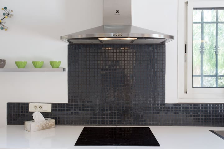 Kitchen induction  hob with overhead extractor fan
