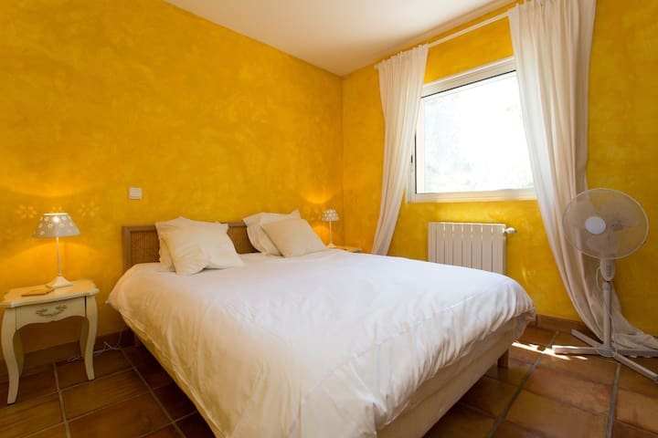 Air-conditioned Double Bedroom 4 with Kingsize bed can be separated to two singles