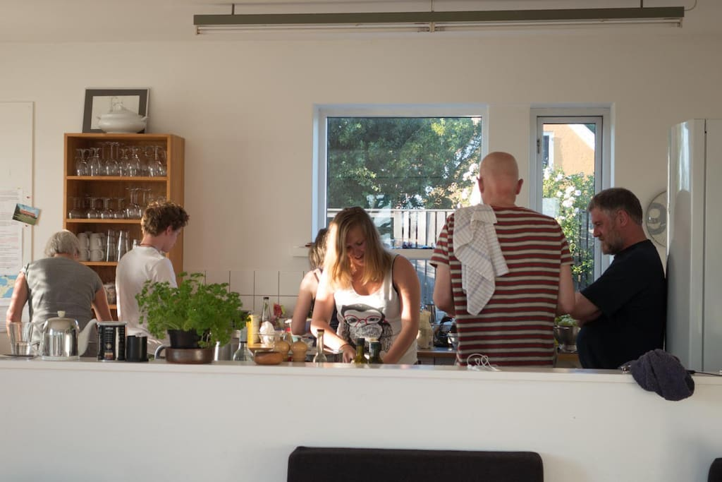 The open kitchen has room for many cooks.