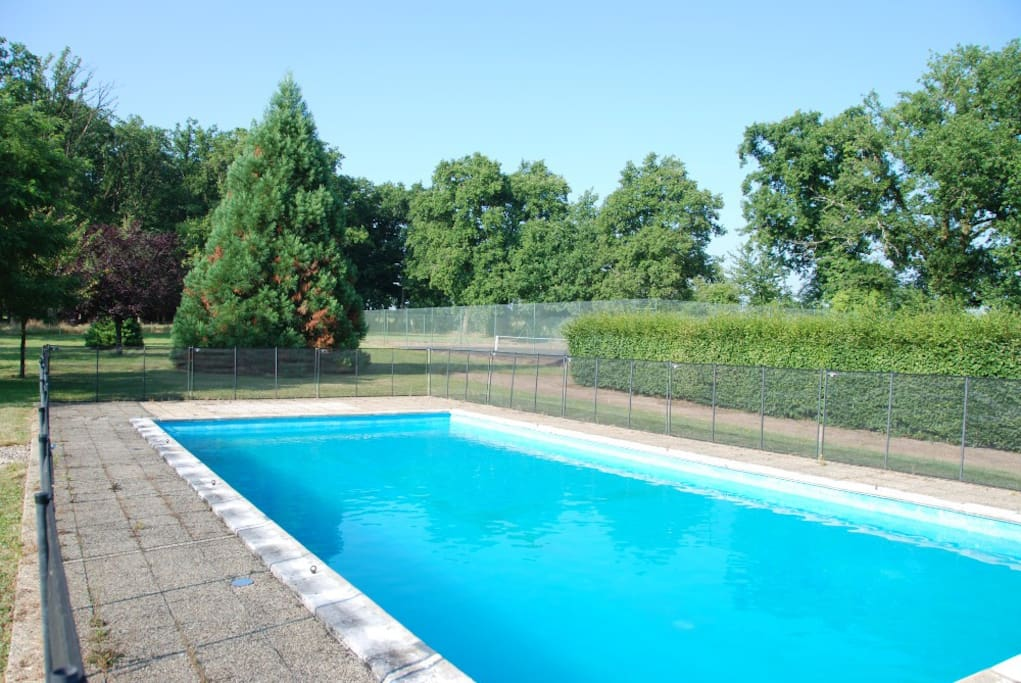 Swimming pool and tennis court