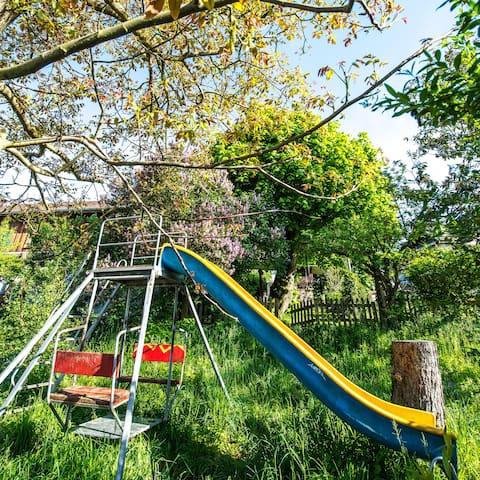 Swing with slide under walnut - Rutsch unter Nussbaum