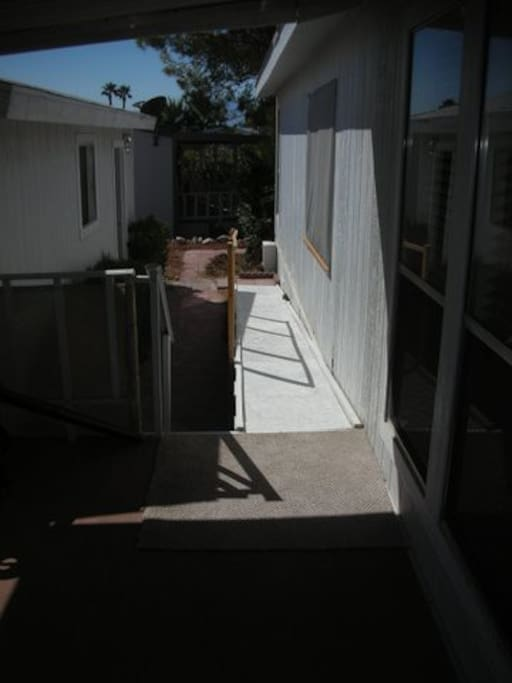 Wheelchair ramp to covered porch