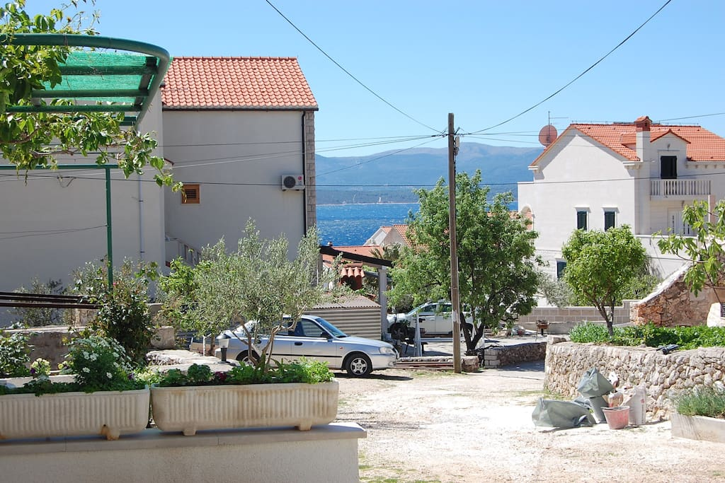 View from terrace across the rooftops to the neighbouring island of Hvar