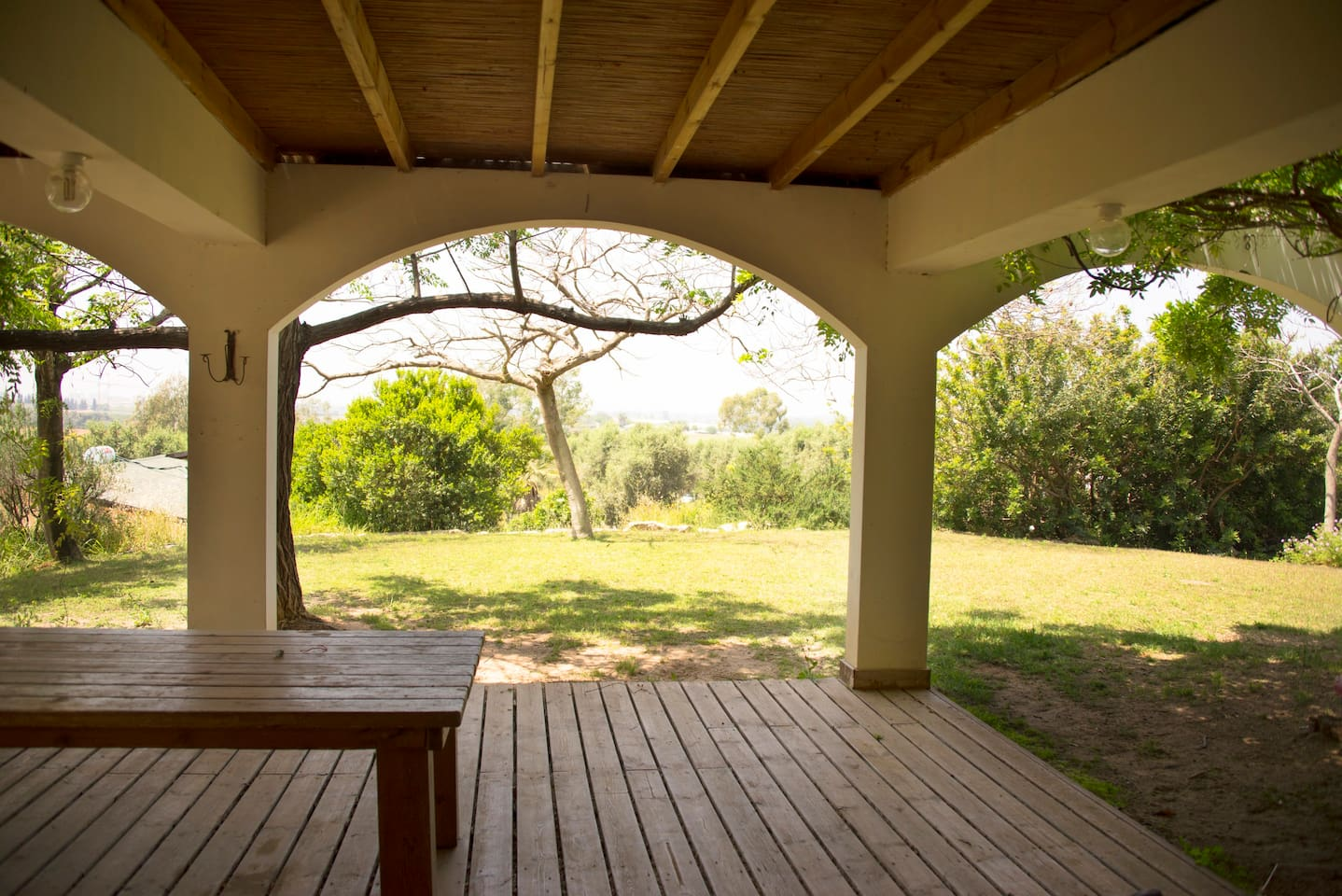 Large wooden deck overlooking plantations and orchards.. best time is sunset!