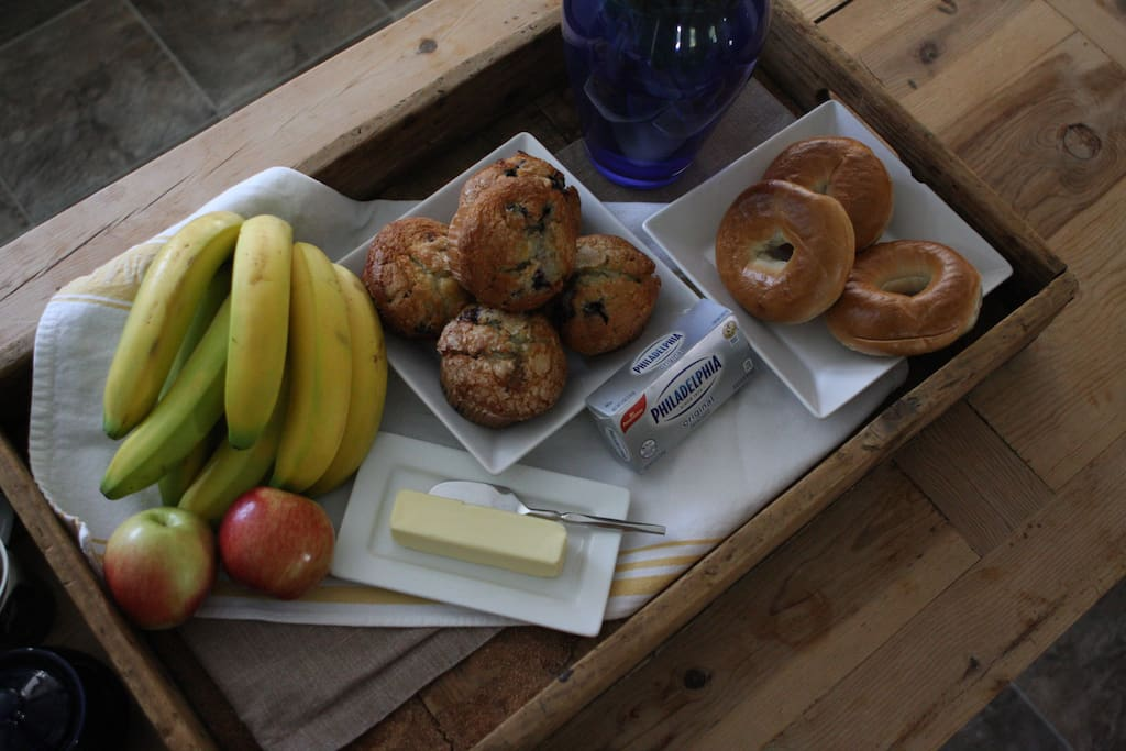 Help yourself to muffins, bagels, fruit and coffee or tea.